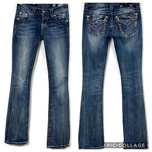 "Miss Me Bootcut Jeans 25 -33"" inseam Floral pocket"